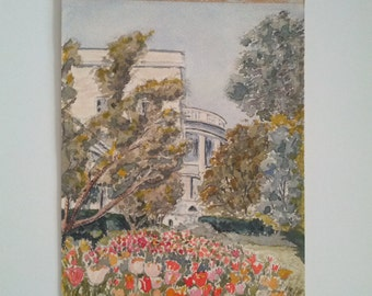 Stunning 1960's VINTAGE WATERCOLOR of the WHITEHOUSE