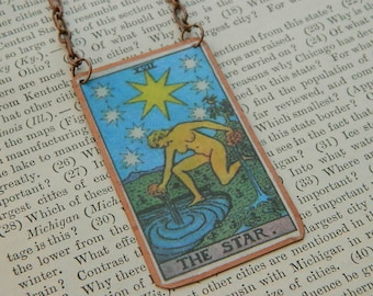 Tarot necklace tarot jewelry The Star mixed media jewelry supernatural