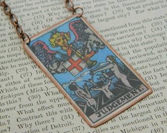 Tarot necklace tarot jewelry Judgement mixed media jewelry supernatural