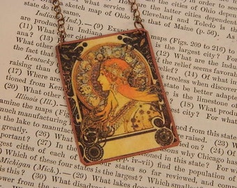 Mucha necklace Zodiac Alphonse Mucha mixed media jewelry