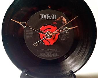 """Recycled JOSE FELICIANO 7"""" Record / Feliz Navidad / Record Clock"""