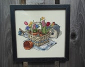 Completed Finished Professionally Framed Counted Cross Stitch Birdhouse, Basket and Flowers