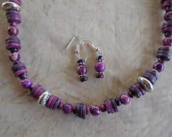 23 Inch Purple and More Purple Jasper Necklace