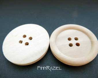 5 Wooden buttons  wood ø30mm round coat buttons
