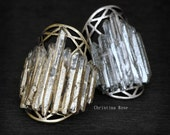 GOLD DIPPED CRYSTAL Cage Ring - Raw Crystal & Metalwork