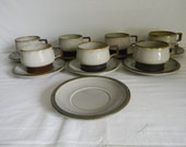 Vintage Bing & Grondahl Denmark Stoneware Tema Pattern Cups and Saucers Set Serving Dinnerware