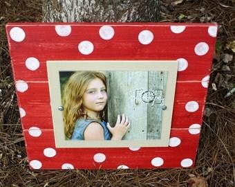Distressed Picture Frame, 8x10 Frame, Red Picture Frame, Polka Dot Frame, Wood Plank Frame, Unique Gift