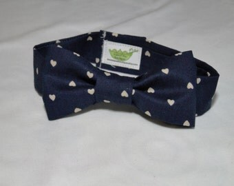 Navy Hearts Infant/Baby/Toddler Bow Tie and/or Suspenders- Great Photo Prop, Cute for Weddings, Cake Smashing,