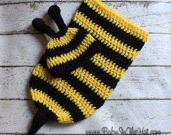 Newborn Bumble Bee Crochet Hat And Cocoon Photo Prop Set