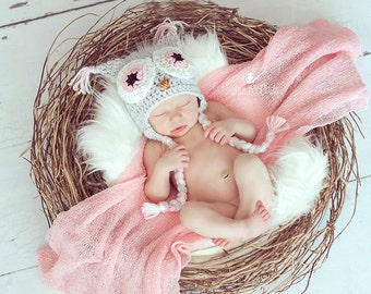 Children's Bright Eyes Pink and Grey Girls Owl Earflap Crochet Hat