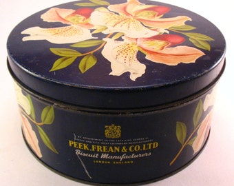 SALE Peek Frean & Co., Ltd Biscuit Tin Cookie Tin Orchids Flowers London England Scarce Hard to Find 1952
