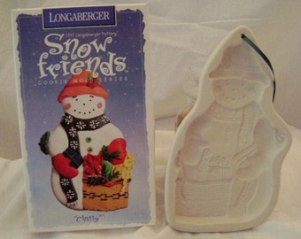 Longaberger Pottery Snow Friends Snowman Chilly Cookie Mold