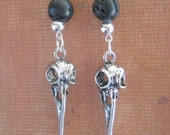 Genuine Lava Rock and Bird Skull Earrings Gemstone Raven Skull Jewelry OOAK