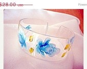 Blue Lucite Flower Bangle 1960s Vintage Jewelry