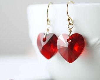Red heart earrings, swarovski crystal earrings, gold filled short dangle, valentine gift, dangle earrings, bridesmaids gifts