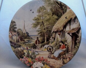 1950 English village country garden spinning Samuel Rogers poem candy Tea Tin Sewing button Box Rustic Country Cottage Shabby Farmhouse Chic