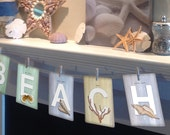"""Set of ANY 7 LETTERS from the Beachcomber (Beach Theme) Collection Illustrated Alphabet 5"""" X 7"""" ~ Name or Word Garland Banner Frame-able"""