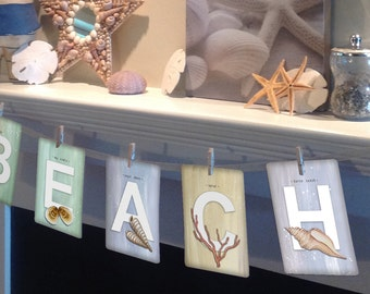 """Set of ANY 9 LETTERS from the Beachcomber (Beach Theme) Collection Illustrated Alphabet 5"""" X 7"""" ~ Name or Word Garland Banner Frame-able"""