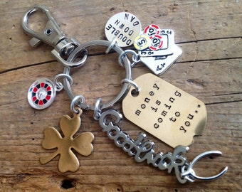 Amazing Personalized Good Luck Charm for Blackjack Player, Poker Player.  Roulette Player. Vegas. Casino. Bachelor Party, keychain, Clip.