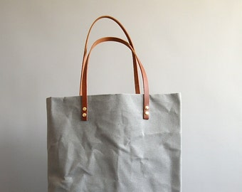 Large Canvas Tote Bag in classic Storm grey with Chestnut tan leather straps oversize