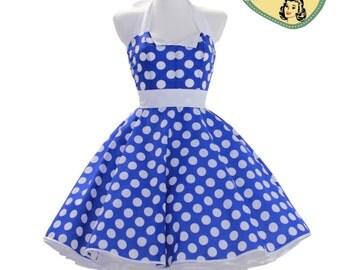 50's vintage dress larg Polka dots royal blue white Tailor Made after your measurements #0024