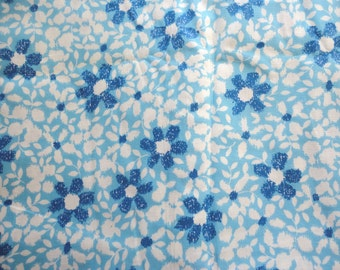 blue floral print vintage cotton blend fabric -- 37 wide by the yard