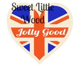 Jolly Good, heart -union jack vector  svg - 2 x digital SVG file in black line format and exploded color format. JPEG and PNG images.