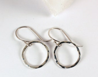 Hammered Organic Loop Dangle Earrings, Sterling Silver, Made to Order