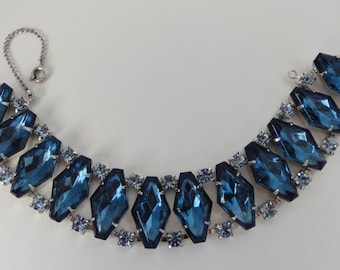 Vintage Bracelet Blue Diamond Shaped Rhintstones Light and Dark Blue Stones Hidden Clasp Rhodium Setting 7 1/4 Inches Long Rhodium Setting