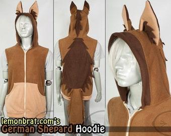 German Shepherd Hoodie, Costume, Cosplay, Adult Size, Hand-made