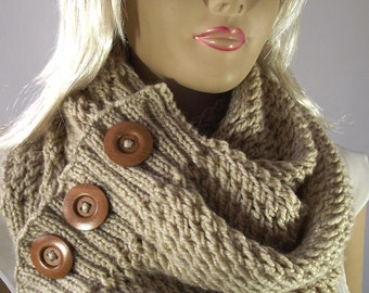 Knitted button scarf Etsy