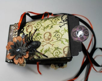 Handmade Halloween Mini Scrapbook Album, Photo Album, Halloween Chunky Mini , Memory Book