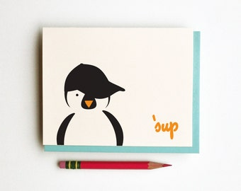 sup penguin whats up hipster hood penguin doodle card totem animal in sideways hat