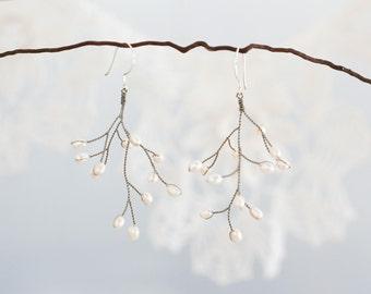 631_Pearl earrings, Silver dangle earrings, Big earrings, Handmade earrings, Earrings pearls, Tender earrings, Delicate jewelry.