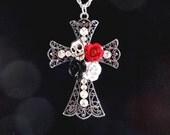 Gothic Pendant Biker Jewelry  Skull Pendant   Rhinestone Rocker Pendant  Goth Jewelry