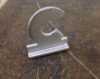 """Small Letter C - Vintage Aluminum Letter - Silver 1"""" tall"""