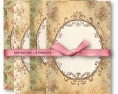 Digital Collage Sheet Download - Floral Frame Backgrounds -  933  - Digital Paper - Instant Download Printables