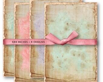 Digital Images - Digital Collage Sheet Download - Vintage Shabby Backgrounds -  833  - Digital Paper - Instant Download Printables