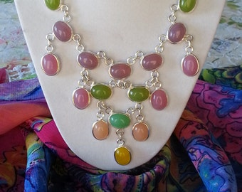 VALENTINES GIFT..... Chaledony Necklace 925 Silver