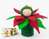 Poinsettia Ornament Felt Doll - Holiday Miniature Flower Decoration Stocking Stuffer