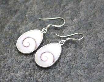 Shiva eye earrings / Sterling silver earrings / Shell silver earrings