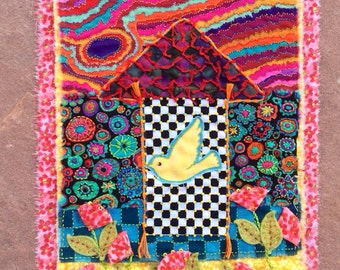 """Mini Art Quilt  """"Ode to the Goldfinches"""""""