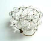 Signed Miriam Haskell Bracelet Vintage Clear Beaded Wire Wrap Bracelet
