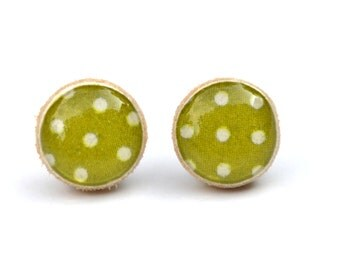 Olive green polka dot  post earrings polka dot studs geometric studs eco friendly jewelry, wood earrings, minimalist jewelry
