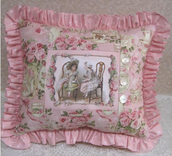 Pink Victorian Pillows : Pillow Victorian pillow tea pillow pink pillow tea cup