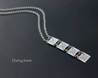 QR BAR CODE Necklace, Sterling Silver, Customizable, Engraved Jewelry, Unisex Gift, Valentines Day Present, Brithday, Celebrity