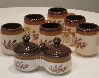 6 Mugs and Double Relish Crocks Wheat Pattern