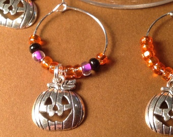 Halloween - Pumpkin Wine Charms with gift box