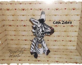 PDF EPattern  to make 8 inch 'Cash'   Vintage Style Viscose or Mohair  Zebra by Artist KarynRuby