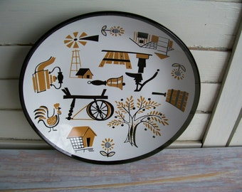Early American decorative plate- Free Shipping